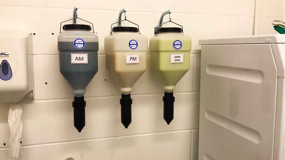hanging soap dispenser systems